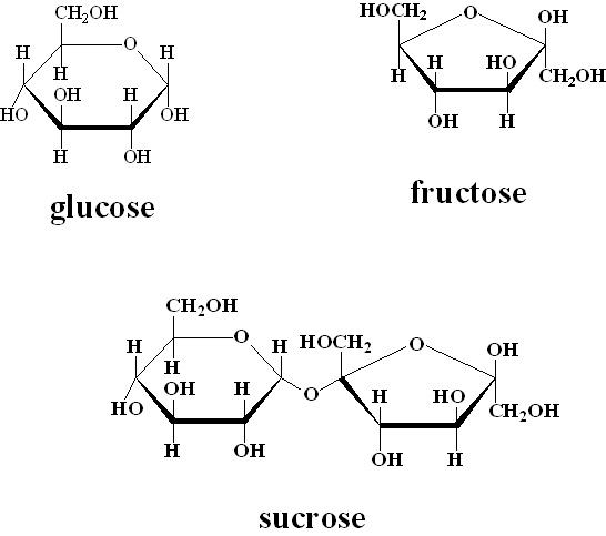 Molecular breakdown of glucose, fructose, and sucrose.