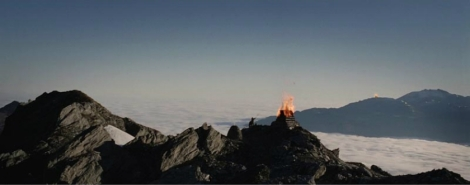 The Warning Beacons of Gondor. Photo Credit: Lord of the Rings - Return of the King - Blue Ray Edition.